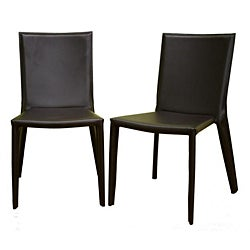 Chocolate Brown Bonded Leather Dining Chairs (Set of 2)