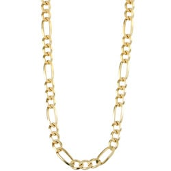 Sterling Essentials 14K Gold over Silver 24-inch Figaro Chain (6 mm)