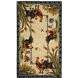 Safavieh Hand-hooked Roosters Ivory Wool Rug (3'9 x 5'9)
