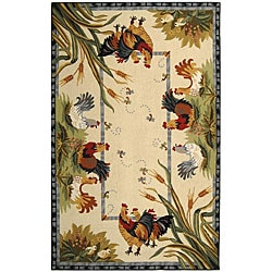 Safavieh Hand-hooked Roosters Ivory Wool Rug (7'9 x 9'9)