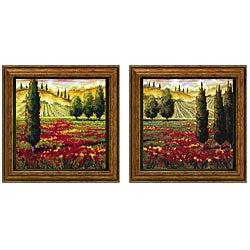 JM Steele 'Tuscany In Bloom' Framed Wall Art (Set of 2)