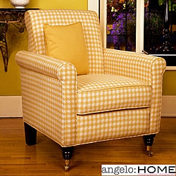 angelo:HOME Harlow Arm Chair Yellow and White Check