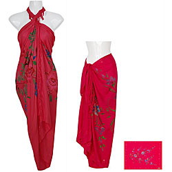 Sequined/ Embroidered Hot Pink Floral Sarong (Indonesia)