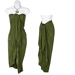 Indonesian Handmade Fringed-rayon Sarong with Bamboo Design