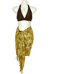 Tan/ White Butterfly Half Sarong (Indonesia)