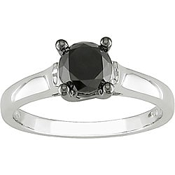 Miadora 10k White Gold 1ct TDW Black Diamond Ring