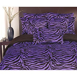 Purple and Black Reversible Plush 'Zebra' 3-piece Comforter Set