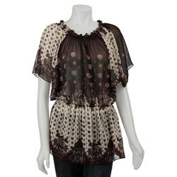 Sam & Max Women's Plus Size Bohemian Print Top