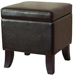 Dark Espresso Color Bi-cast Leather Storage Ottoman