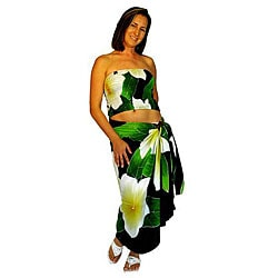 Hawaiian-style Plumeria Sarong Set (Indonesia)