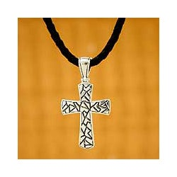 'Puzzle' Men's Sterling Silver Cross Necklace (INDONESIA)