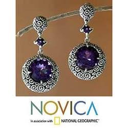 Sterling Silver 'Moonlight Dazzle' Dangle Earrings (Indonesia)