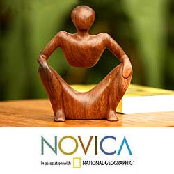 Wood &#39;Abstract Sitting&#39; Sculpture (Indonesia)