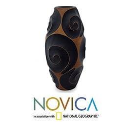 Mango Wood 'Black Melody of Art' Vase (Thailand)