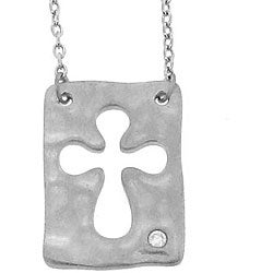 Sterling Silver Diamond Cross Cutout Necklace