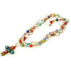 Sweet Romance Millefiori Glass Beads Cross Necklace