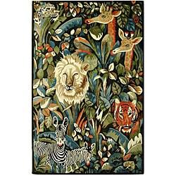 Safavieh Handmade Safari Jungle Black and Blue Wool Rug (5' x 8')