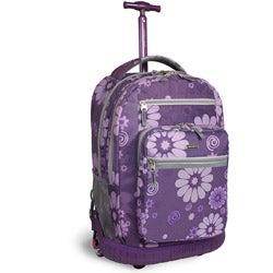 J World 'Sundance' 19.5-inch Purple Flower Rolling Backpack with Laptop Sleeve