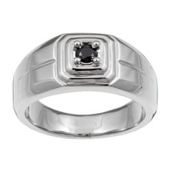 Stainless Steel Men's 1/5ct TDW Black Diamond Ring
