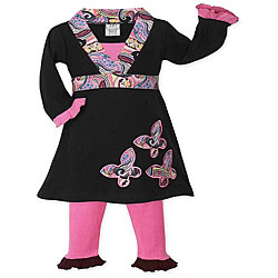 Sweet Jojo Designs Girls' Pink/ Black Butterfly Dress Set
