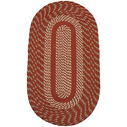 Cambridge Barn Red / Olive Indoor/ Outdoor Braided Rug (8' x 10' Oval)
