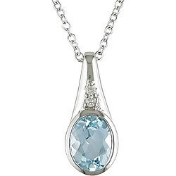 Miadora Sterling Silver Blue Topaz and Diamond Necklace