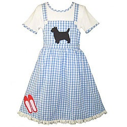 AnnLoren Girl's Blue Gingham Dress Costume