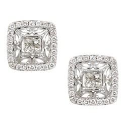 Eloquence 14k White Gold 7/8ct TDW Diamond Framed Earrings (K, SI1-SI2)