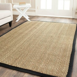 Hand-woven Sisal Natural/ Black Seagrass Runner (2'6 x 8')
