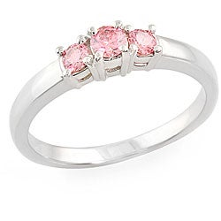 14k White Gold 1/3ct TDW Round-cut Pink Diamond Ring (SI1) (Size 6.5)