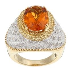 14k Gold Citrine and 1/3ct TDW Diamond Estate Ring (Size 7)