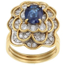 18k Gold Sapphire/ 1 1/5ct TDW Diamond Estate Ring (J, SI2) (Size 6.5)