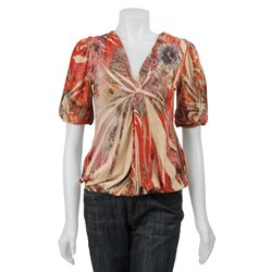 Simply Irresistible Women's Butterfly Print Crochet Back Top