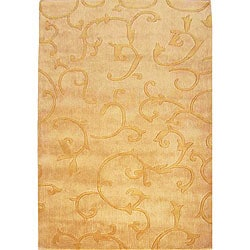 nuLOOM Hand-tufted Pino Collection Scroll Vines Gold Rug (7'6 x 9'6)