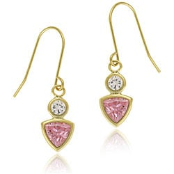 Icz Stonez 14k Gold Pink and Clear CZ Dangle Earrings