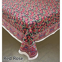 Fair Trade Red Rose Table Covers and Matching Napkin Set (India)