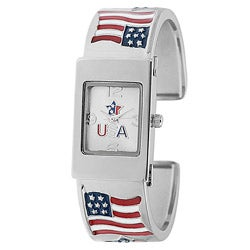 Geneva Platinum Women's Patriotic Flag Cuff Watch