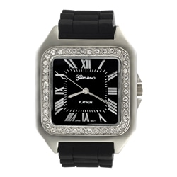 Geneva Women's Platinum Square Rubber Strap Watch