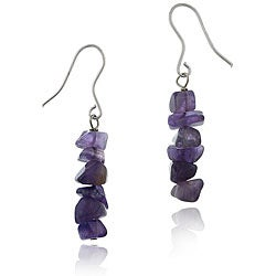 Glitzy Rocks Sterling Silver Amethyst Chip Dangle Earrings