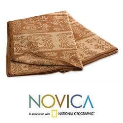 'Paracas Cinnamon' Alpaca Wool Throw Blanket (Peru)