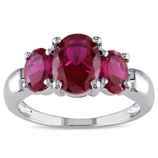 M by Miadora Sterling Silver Created Ruby 3-stone Ring