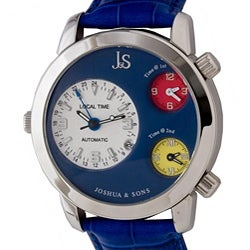 Joshua & Sons Men's Triple Time Zone Automatic Watch