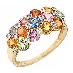 D'Yach 14k Yellow Gold Multi-colored Sapphire and Diamond Ring