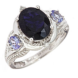D'Yach 14k White Gold Iolite and Tanzanite Ring