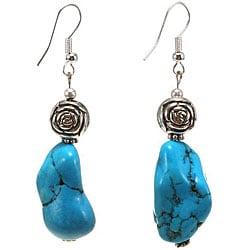 Silver Turquoise Floral Bead Dangle Earrings (Thailand)