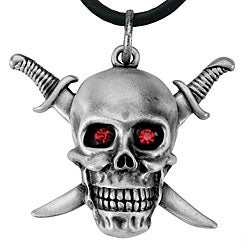 Pewter Sword and Skull Necklace