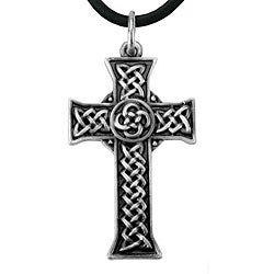 Pewter Celtic Cross Infinity Knot Necklace | Overstock.com
