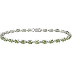 Miadora Sterling Silver Green Peridot Bracelet