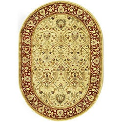 Handmade Mahal Ivory/ Rust New Zealand Wool Rug (7'6 x 9'6 Oval)