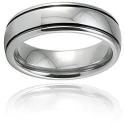 Black-plated Tungsten Carbide Polished Domed Ring (7 mm)